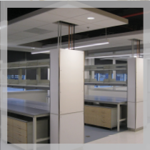 Cleveland Center for Membrane and Structural Biology: Rows of modular casework with suspended ceiling and endcap whiteboards.